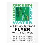 Piense verde, agua de la reserva flyer personalizado