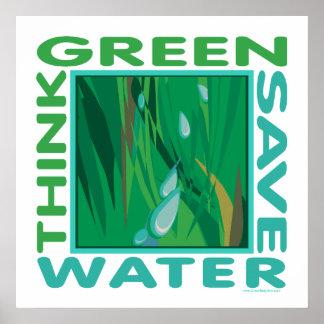 Piense verde, agua de la reserva poster