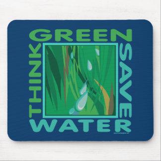 Piense verde, agua de la reserva tapetes de ratones