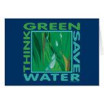 Piense verde, agua de la reserva tarjeta