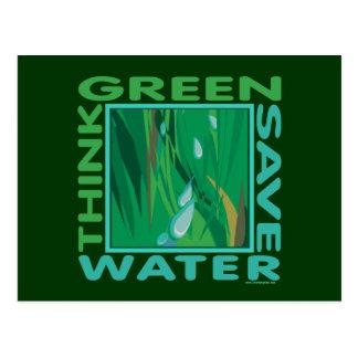 Piense verde, agua de la reserva tarjeta postal