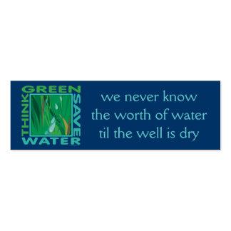 Piense verde, agua de la reserva tarjetas de visita mini