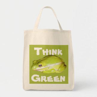 Piense verde - la bolsa de asas orgánica de la