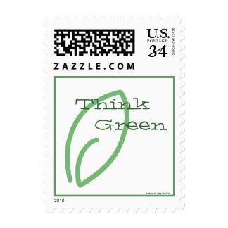Piense verde - pequeña vertical de la hoja verde sellos