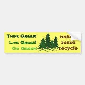 Piense, viva, y vaya verde - pegatina para el para pegatina de parachoque