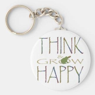 Piense y crezca feliz llaveros personalizados