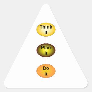 Piénselo plan que lo hace calcomania triangulo personalizadas