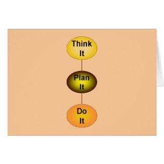 Piénselo plan que lo hace tarjeta de felicitación