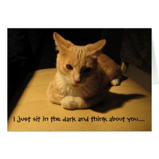 Pienso en usted la tarjeta del gato