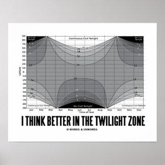 Pienso mejor en la zona crepuscular (la latitud) poster