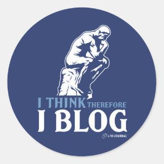 Pienso, por lo tanto yo blog pegatina redonda
