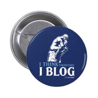 Pienso, por lo tanto yo blog pin redondo de 2 pulgadas