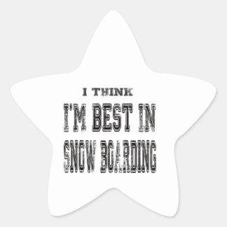 Pienso que soy el mejor del embarque de la nieve calcomanía forma de estrella