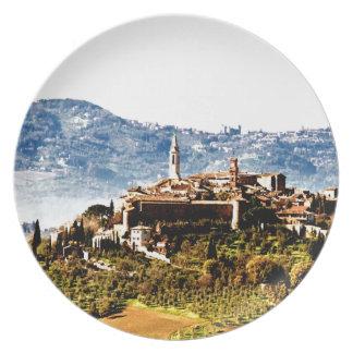 pienza montalcino mountain history plates