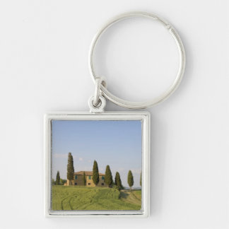 Pienza, Val d'Orcia, Siena province, Tuscany, Silver-Colored Square Keychain
