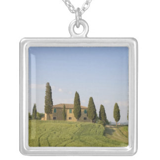 Pienza, Val d'Orcia, Siena province, Tuscany, Square Pendant Necklace
