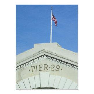 "Pier 29, San Francisco 5.5"" X 7.5"" Invitation Card"