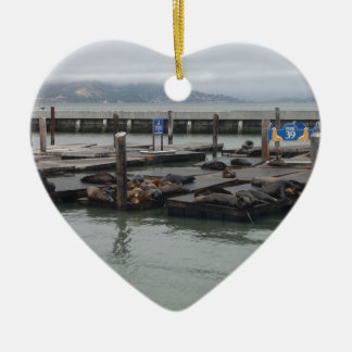 Pier 39 of San Francisco Double-Sided Heart Ceramic Christmas Ornament