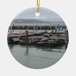 Pier 39 of San Francisco Double-Sided Ceramic Round Christmas Ornament
