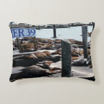 Pier 39 Sea Lions in San Francisco Decorative Pillow