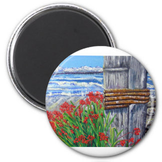 Pier and Flowers 2 Inch Round Magnet