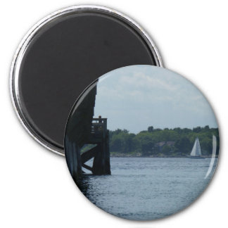 Pier and Sailboat 2 Inch Round Magnet