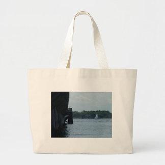 Pier and Sailboat Jumbo Tote Bag