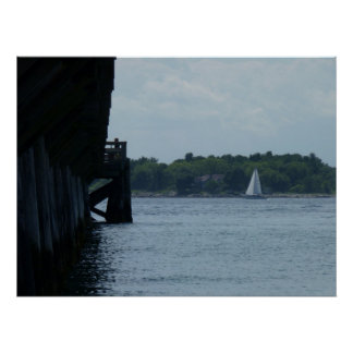 Pier and Sailboat Poster