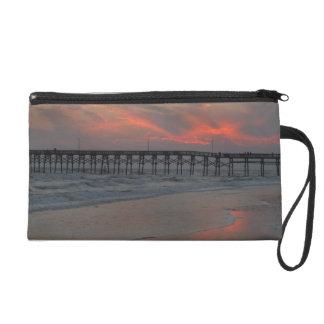 Pier and Sunset - Oak Island, NC Wristlet Purse