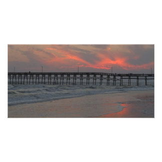 Pier and Sunset - Oak Island, NC Card