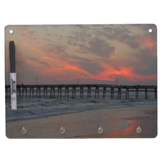 Pier and Sunset - Oak Island, NC Dry Erase Board With Keychain Holder