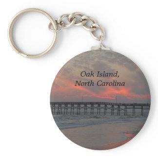 Pier and Sunset - Oak Island, NC Keychain