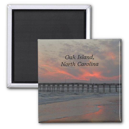 Pier and Sunset - Oak Island, NC Magnet