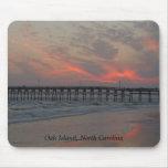Pier and Sunset - Oak Island, NC Mousepad
