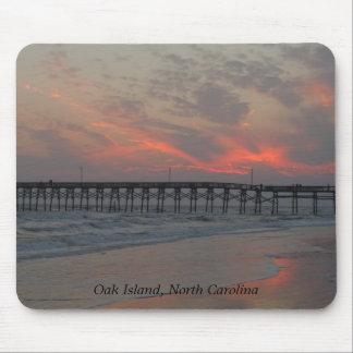 Pier and Sunset - Oak Island NC Mousepad