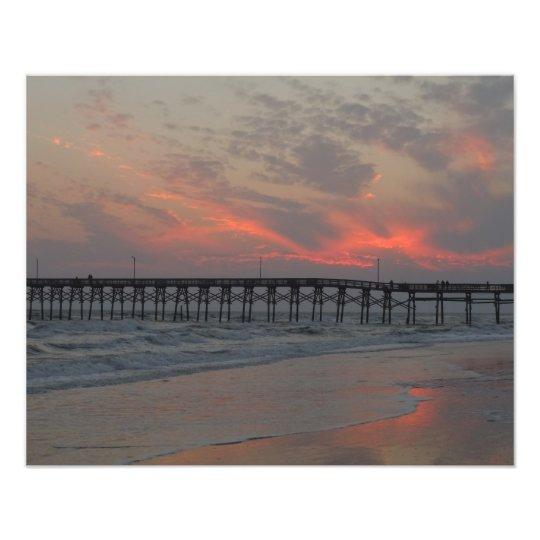 Pier and Sunset - Oak Island, NC Photo Print