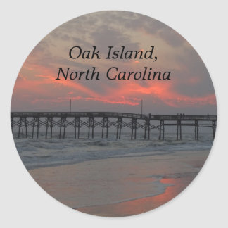 Pier and Sunset - Oak Island, NC Classic Round Sticker