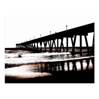 Pier and Surf in (mostly) Black and White Postcard