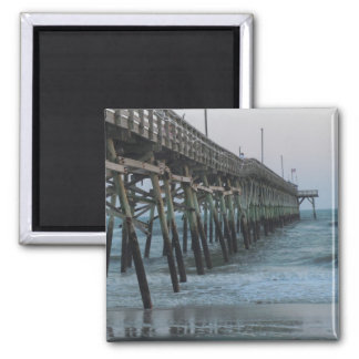Pier and Waves = Oak Island, NC Magnet