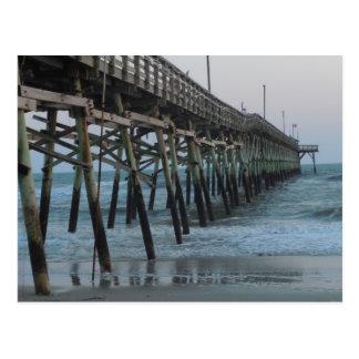 Pier and Waves = Oak Island, NC Postcard