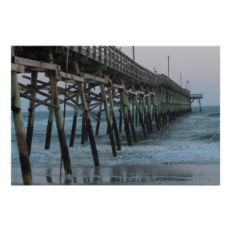 Pier and Waves = Oak Island, NC Poster