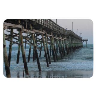 Pier and Waves - Oak Island, North Carolina Magnet