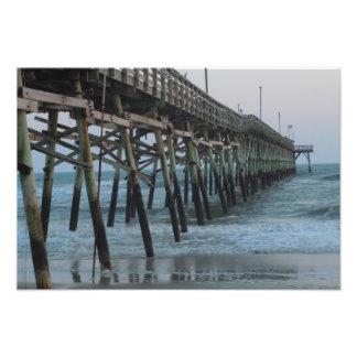 Pier and Waves - Oak Island North Carolina Photo