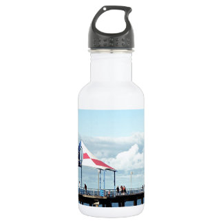 Pier at beach 2 stainless steel water bottle
