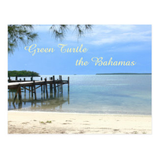 """PIER AT QUIET BEACH/GREEN TURTLE, THE BAHAMAS"" POSTCARD"