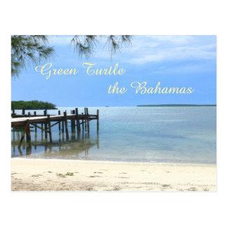 """PIER AT QUIET BEACH/GREEN TURTLE, THE BAHAMAS"" POSTCARD"