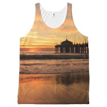 Beach Themed Pier beach sunset All-Over-Print tank top