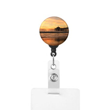 Pier beach sunset badge holder