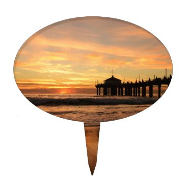Beach Themed Pier beach sunset cake topper
