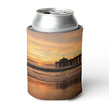 Beach Themed Pier beach sunset can cooler